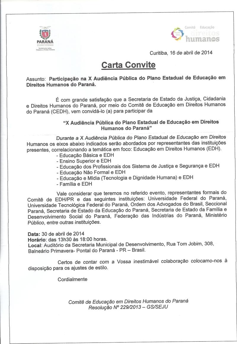 Carta Convite - Audiência - SEJU
