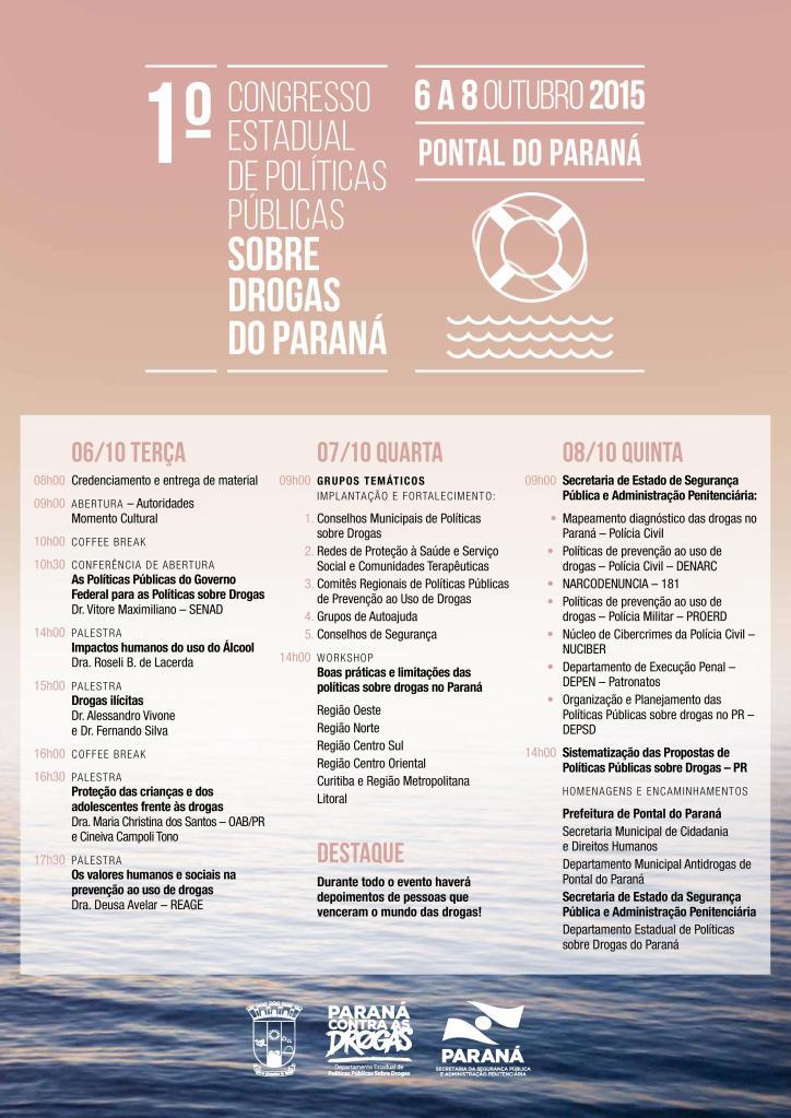 Programação I Congresso Estadual de Políticas Públicas Sobre Drogas
